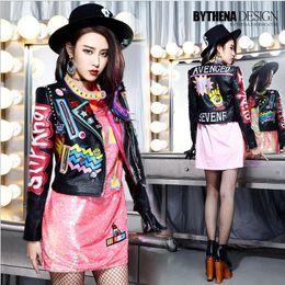 Wholesale Black Metal Jacket - Wholesale- 2017 Fashion Autumn Women Punk Heavy Metal Street Short Leather Jacket Black Zipper Rivet Long Sleeve Motorcycle coat W1525