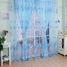 Wholesale Wholesale Blackout Drapes - Floral Tulle Voile Door Window Curtain Drape Panel Sheer Scarf Valances DividerZI-202