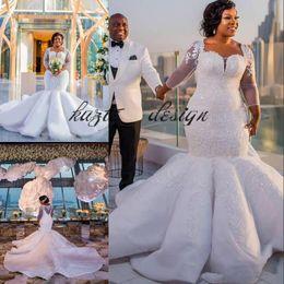 Wholesale Crystal Sparkling Short Dresses - Gorgeous South Africa Wedding Dress Sparkle Sequins Beads Lace Applique Long Sleeve Plus Size Mermaid Ruffles Skirt Castle Wedding Dress