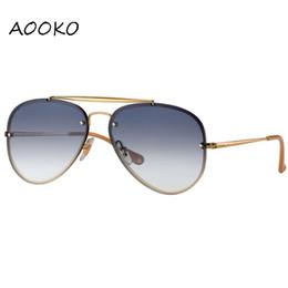 430b6b33e2 Aooko jeff 3584 gafas de sol 2018 nuevas mujeres de alta calidad que llegan  gafas de sol diseñador Blaze hombres marco de glassesgold lente verde 61mm  caja ...