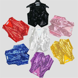 Wholesale Dance Costumes For Girls - Hip hop sequin vest Girls boys solid color costumes Tops shiny dance party Vest 9 colors for choose B11