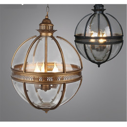 Caliente Vintage Loft globo de cristal Colgante Luz Hierro Lámpara de Bola Redonda Sombra Lámpara Colgante Cocina Luste Home E14 Iluminación desde fabricantes