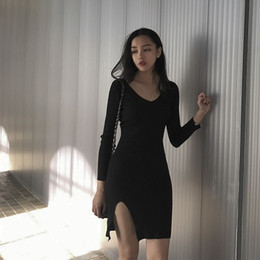 efc86385fda0 Fashion Classic Deep V Neck Ladies Long Sleeves Free Size Women Jersey Dress  Knitted Sweater Dress