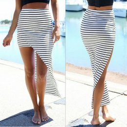 Wholesale Maxi Skirt Side Split - Wholesale-2017 New Fashion Women Summer Casual Beach Bandage Pencil Skirt Side Split Black White Stripes Irregular Sexy Long Maxi Skirts