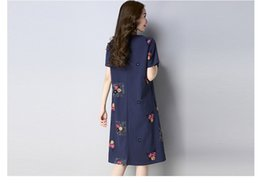 Wholesale Folk Skirt - Cotton dress 2018 summer new folk style in the long - sleeved dress embroidered retro A A-line skirt