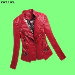 Wholesale womens jacket size large - 2017 Sale Top Fashion Full Chaquetas De Cuero Mujer Large Size Womens Leather Jacket Fashion V-neck Motorcycle Female Pu Zipper
