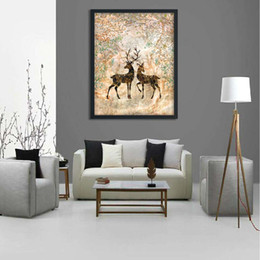 Wholesale Family Oil Paintings - 2 paintings Nordic home decoration two love deer family decorations art wall fashion murals stickers wall