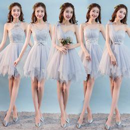 Dulce memoria, gris corto, vestidos de dama de honor, novia, hermana, invitados, escenario, champán, rosa, vestido de dama de honor SW0013 desde fabricantes
