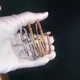 Wholesale hot bangle designs gold - Hot sale Luxurious quality brand name Classic Design Titanium steel nails punk lovers bangle Size for Women bracelet with 500pcs diamonds
