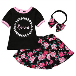 Wholesale Girls Skirts Tops - Girls Three-piece Sets T-shirt Tops Floral Skirts Headband Hairband Cotton Love Letters Summer Kids Outfits 1-5T