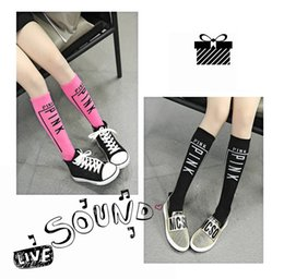 Wholesale Cotton Crew Socks For Women - New With 'Pink' Logo Women Knee High Socks 6 Pairs Crew Girls Socks Warm kids Socks With Cotton High Quality BoxDream Stockings For Child