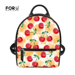 b6e9d1e12176 FORUDESIGNS Preppy Style Leather School Backpack Bag For College Girls  Cherry Print Women Casual Daypacks Female