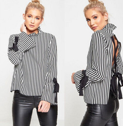Wholesale Tee Shirt Collar Design - Vertical Striped Women Blouses Spring Cute Bow Knot Design Tops Long Sleeved Back Ties Design Backless Tees Shirts
