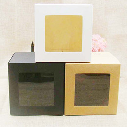 Wholesale Window Cookie Boxes - 10*10*10cm White black kraft Window Box Packing Gift Boxes with pvc window for Candy Cake Soap Cookie Cupcake Display Box