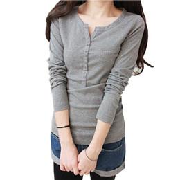 Wholesale Korea Top Tee - T Shirt Women 2018 Tops Long Sleeve Tees Button T-Shirt Half Open Collar Korea Clothes Plus Size Vetement Femme Womans Tshirt To