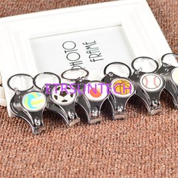 Wholesale nails birthday - Multifunctional Sports Keychains Metal Tennis Football Nail Clipper Keyrings Bottle Opener for Gifts Free Shipping QW7617
