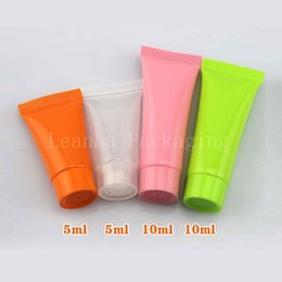 Wholesale Plastic Container For Facial - 5g empty colored plastic tube for cosmetics packaging,5ml small sample hand cream   facial cleanser ,cosmetic container bottle