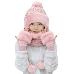 e9439bd053a Woman Winter Thick Knitted Hat and Gloves Sets For women Pus Velvet Warm  Fashion Girls Pompoms Beanie Scarf Gloves 3 Pieces Set