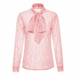 Ropa de fiesta blanca online-FUNOC Ropa Hollow Out Lace Top Mujeres Blusa Camisa de Las Mujeres Arco Collar Rosa Blanca blusas mujer 2017 Ocasional OL Partido Mujer Tops