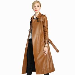 весеннее пальто корейское Скидка Куртка из натуральной кожи женская одежда весна осень плащ женская ветровка корейский элегантный тонкий длинный дубленка ZT526