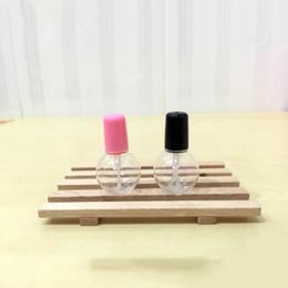 recipientes tampa rosa Desconto Plástico Prego Polonês Garrafa Vazia 6 ml com Escova Clara Bola Redonda DIY Blush Caxinha Creme Garrafas