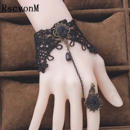 вампирские готические украшения Скидка все старинные готические крупный драгоценный камень черного кружева браслеты для женщин партии ювелирных изделий вампир косплей ручной браслеты
