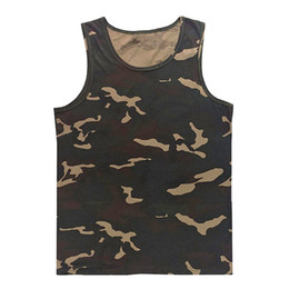 Wholesale Boys Singlets - Wholesale- Sale Beach Casual Vest Mens Bodybuilding Singlet Undershirt Boys Camouflage Uniforms Men's Tank Tops Sleeveless Shirt Size 5XL