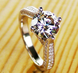Wholesale White Gold Round Ring Mountings - Wholesale 925 Sterling Silver Jewelry White Gold Color Hearts and Arrows Ring Semi Mount Round 2CT Synthetic Diamonds Engagement Rin