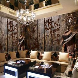 2019 fond d'écran nostalgique Fond d'écran 3D Personnalisé Rétro Nostalgique En Bois Rock Musique Fond Mur Mural Thème Restaurant Bar KTV Fond d'écran promotion fond d'écran nostalgique