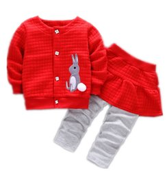 2020 outwear del bambino New Girl Clothes Suit Autumn Baby Coat + Pants Set Spring Kids Cute Bunny Jacket Abbigliamento outwear per bambini outwear del bambino economici
