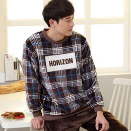 6db62a52d7 Korean Men s Plaid Flannel Printed Letter Pyjamas Winter Long-sleeved Casual  Fleece Sleepwear Solid Pants Warm Home Pajamas Set