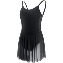 Deutschland Lyrische Ballett Kleid Frauen Camisole Trikot Kleid Mädchen Erwachsene Black Dance Kostüme mit Mesh Rock cheap black leotard adult Versorgung