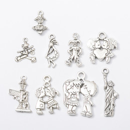 Wholesale Liberty Charm - 100pcs Lovers Clown Statue of Liberty Charms Antique Silver DIY Jewelry Making Pendant for Fashion Bracelet Necklace Earrings
