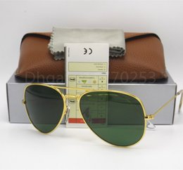 Wholesale Sunglasses Glasses Gold Men - New Arrival Designer Pilot Sunglasses For Men Women Outdoorsman Sun Glasses Eyewear Gold Brown 58mm Glass Lenses With Better Case