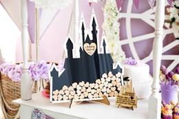 Kişiselleştirilmiş Fairytale fikir kale düğün kazınmış Kalp damlası kutusu üst imza misafir kitapları ile Alternatif hafıza guestbooks nereden sevimli planlayıcı kitap tedarikçiler