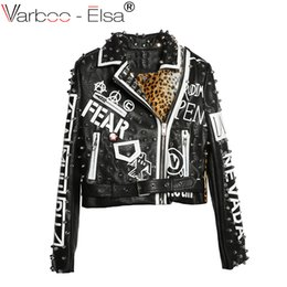 Wholesale heavy women coats - 2017 Fashion Autumn Women Punk rock Heavy Metal Street Short Leather Jacket Zipper Rivet Long Sleeve Motorcycle Coat