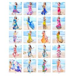 Wholesale long summer scarf - Woman beach towel lady scarf summer sun block chiffon shawls scarf fashion swimwear bikini cover up sarong long shawl 180x150cm