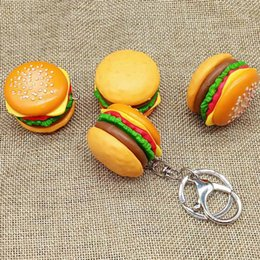 Wholesale Key Shipping - Cute Hamburger Keychain Simulation Food Hamburger Pendant Key Ring Novelty DIY Key Chain Christmas Birthday Gift drop ship 340034