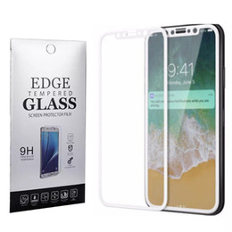 Wholesale Cover Box Design - For Iphone X 8 Tempered Glass 3D Full Cover Screen Protector Carbon Fiber Design 9H 0.33mm Soft Edge Protective Film With Retail Box
