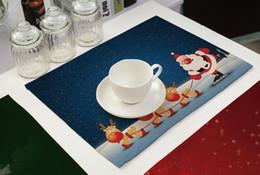 2019 tapis de noël Style de Noël Table Set Festival Tables Place Mats Arbre De Noël Père Noël Snowflower Coton Table Tapis De Table tapis de noël pas cher