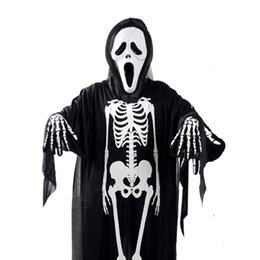 Luvas do fantasma do dia das bruxas on-line-Halloween Esqueleto Trajes Fantasma Demônio Definir Máscara Gritando Roupas Crânio + Luvas Assustadoras para Crianças Adultos Halloween Festa Extravagante