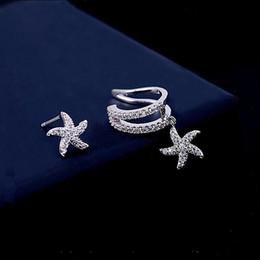 Wholesale Newest Earrings Style - Newest Style Starfish Ear Cuff Asymmetrical Earring Studs Europe Swarovski Non Pierced Silver Earring Set Cuffs Climber
