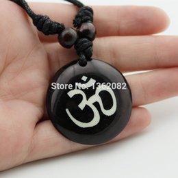 Wholesale Ohm Necklace - whole saleTribal Fashion Jewelry AUM OM Ohm Hindu Buddhist Hinduism Yoga India yak bone Carving Pendant Necklace Amulet Lucky Gift YN578