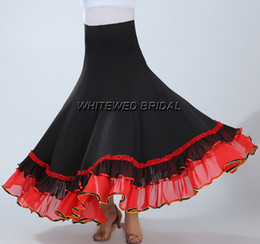 Wholesale Long Dance Skirts - Whitewed Praise Dance Long Circle Ballroom Waltz Competition Training Flamenco Ballroom Waltz Competition Dance Circular Skirt WearClothing
