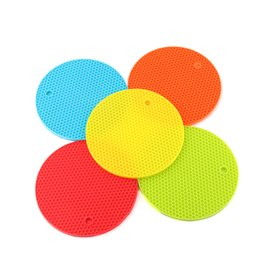 Wholesale honeycomb table - 1Pc Silicone Honeycomb Round Table Heat Resistant Mat Coaster Cushion Placemat Pot Holder