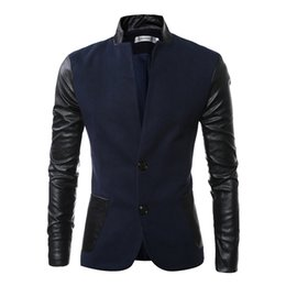 Wholesale Grey Jacket Leather Sleeve Men - 2016 New Sale Autumn Stand Collar Slim Fit Casual Men Blazer PU Leather Sleeve Jacket Men Bomber Blazer