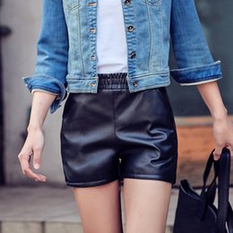Wholesale leather shorts elastic waist - Casual Women's Elastic Waist Faux Leather Hot Solid Color Loose Shorts
