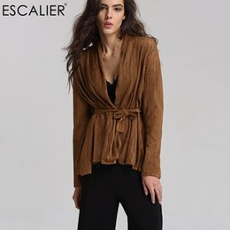 Wholesale Leather Summer Jacket - Escalier Fashion Women Coats Hollow Out Summer Faux Leather Suede Open Stitch Outerwear Belt design Pool Party Casual Jacket