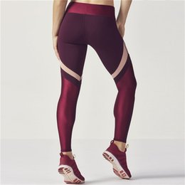 Wholesale Women One Leg - ONE-F Fashional Wine Red Contrast Yoga Pants For Women Low Waist Ankle Length Fitness Gym Leggings Breathable Sports Legging