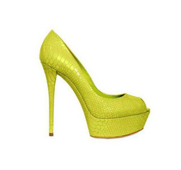 Женские неоновые каблуки онлайн-Неон желто-зеленый супер высокие каблуки женская обувь ночной клуб стиль платформы свадебные туфли секси Peep Toe женщины туфли на высоком каблуке